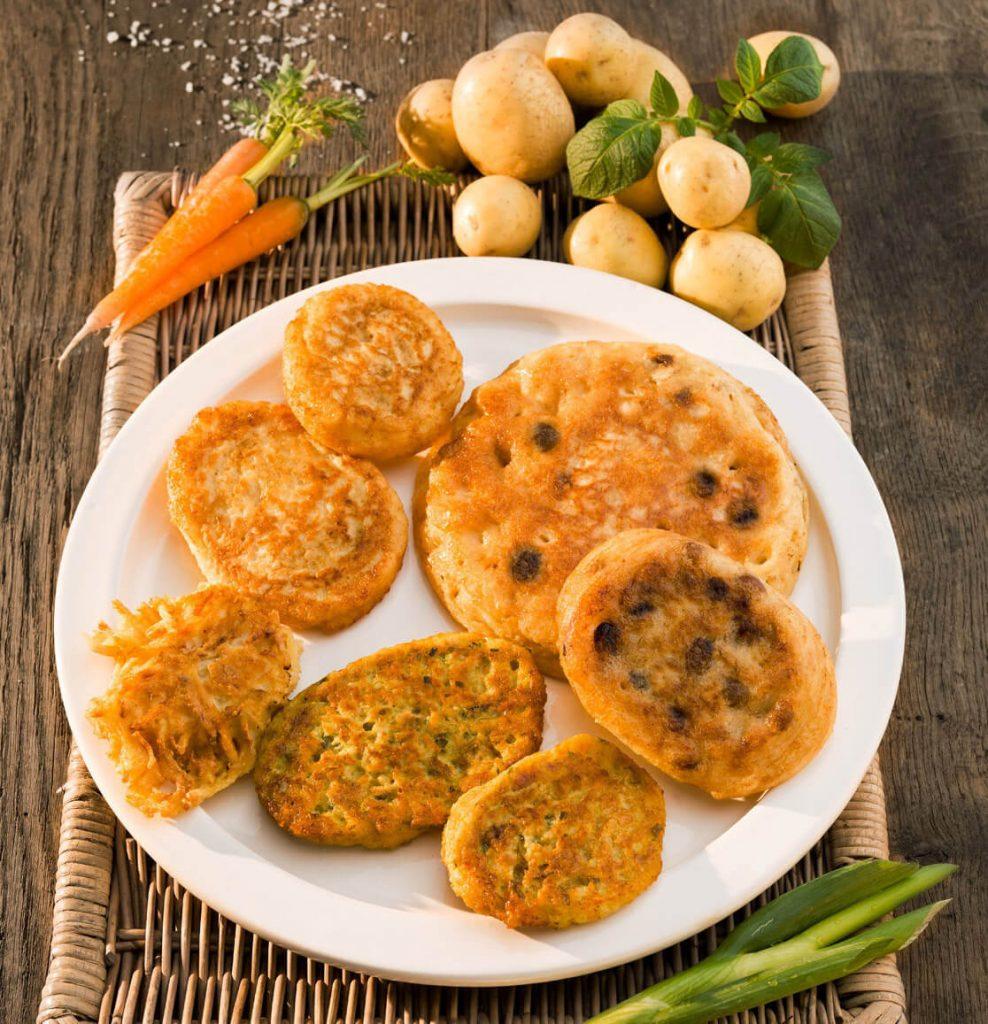 Reibekuchen, Gemüsepuffer, Rösti und Lippische Pickert